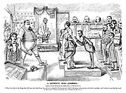 """A Separate Irish Chamber! (After a rough sketch by the right hon J Ch-mb-rl-n!) [""""Since the defeat of the Home Rule Bill they (the Irish Party) have all been engaged in blackening each other's characters, and painting each other's portraits; and I venture to say that the result of that is not a gallery of pictures, but a chamber of horrors.""""] (a Victorian cartoon shows Irish members of parliament as wax works together with Battering Ram, Identical Breeches and Facsimile of the Gladstone Cheque specimens)"""