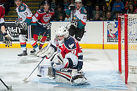 KELOWNA, CANADA - MARCH 8: Evan Sarthou #31 of the Tri City Americans makes a save during third period against the Kelowna Rockets on March 8, 2014 at Prospera Place in Kelowna, British Columbia, Canada.   (Photo by Marissa Baecker/Getty Images)  *** Local Caption *** Evan Sarthou;