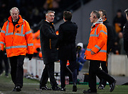 Hull City Manager Nigel Adkins and Thomas Christiansen Head Coach of Leeds United shake hands at full time during the EFL Sky Bet Championship match between Hull City and Leeds United at the KCOM Stadium, Kingston upon Hull, England on 30 January 2018. Photo by Paul Thompson.