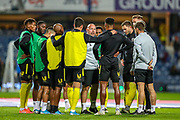 Brentford team talk ahead of the EFL Sky Bet Championship match between Queens Park Rangers and Brentford at the Kiyan Prince Foundation Stadium, London, England on 28 October 2019.