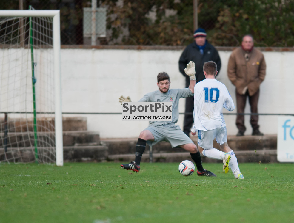 Josh Peters scores the equaliser for Strathspey, Cove Rangers v Strathspey Thistle, SHFL, Allan Park, Saturday 26 October 2013  (c) ANGIE ISAC | SportPix.eu
