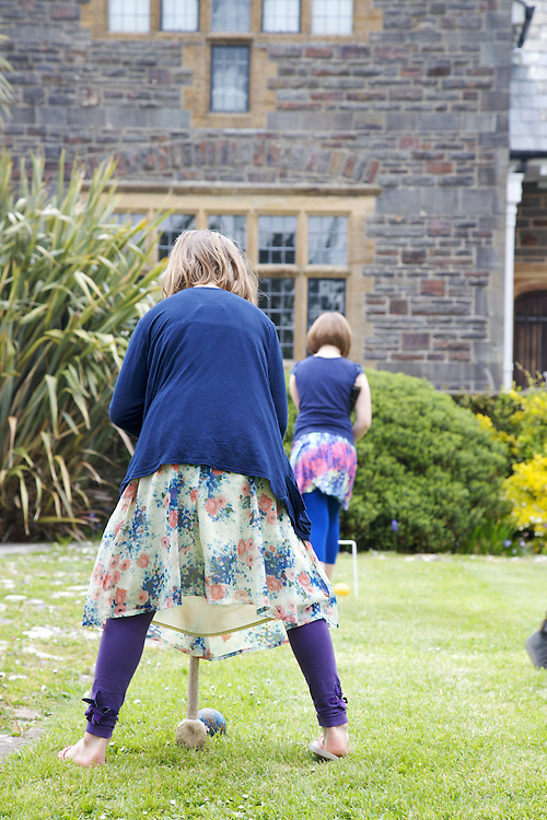 Playing croquet in the garden at Pickwell Manor. From left to right: Millie-grace Elliott (8), Liza Baker (9). Pickwell Manor, Georgeham, North Devon, UK.<br /> CREDIT: Vanessa Berberian for The Wall Street Journal<br /> HOUSESHARE