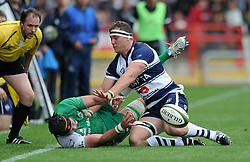 Bristol Rugby's Nick Koster closes down Connacht Eagles' Danny Qualter - Photo mandatory by-line: Dougie Allward/JMP - Mobile: 07966 386802 - 12/10/2014 - SPORT - Rugby - Bristol - Ashton Gate - Bristol Rugby v Connacht Eagles - B&I Cup