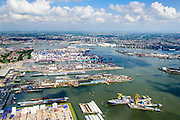 Nederland, Zuid-Holland, Rotterdam, 10-06-2015;  Waalhaven (WestZijde) gezien naar rivier de Nieuwe Maas en skyline Rotterdam. Uniport Multipurpose Terminals container terminal in de voorgrond.<br /> Waal harbour (West side) seen in the direction of Nieuwe Maas river and Rotterdam.<br /> luchtfoto (toeslag op standard tarieven);<br /> aerial photo (additional fee required);<br /> copyright foto/photo Siebe Swart