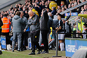 Burton Albion manager Nigel Clough and Burton Albion coach Andy Garner react as Brentford equalise (3-3) during the EFL Sky Bet Championship match between Burton Albion and Brentford at the Pirelli Stadium, Burton upon Trent, England on 18 March 2017. Photo by Richard Holmes.