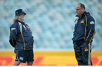17 June 2013; Brumbies head coach Jake White, right, and forwards coach Laurie Fisher during training ahead of their game against the British & Irish Lions on Tuesday. British & Irish Lions Tour 2013, Brumbies Press Conference & Training, Canberra Stadium, Bruce, Canberra, Australia. Picture credit: Stephen McCarthy / SPORTSFILE