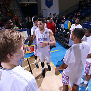 Delaware 87ers Forward Drew Gordon (32) is introduced to the fans prior the start of the start of the first half of a NBA D-league regular season basketball game between the Delaware 87ers and the Erie BayHawk (Orlando Magic) Friday, Mar. 27, 2015 at The Bob Carpenter Sports Convocation Center in Newark, DEL.