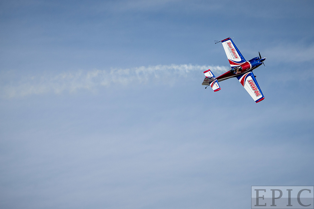 RENO, NV - SEPTEMBER 14: Air acrobatics performer Brad Wursten crawls his plane sideways during a performance at the Reno Championship Air Races on September 14, 2017 in Reno, Nevada. (Photo by Jonathan Devich/Getty Images) *** Local Caption *** Ben Wursten