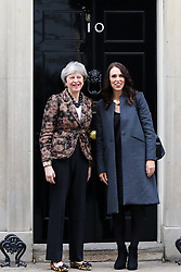 © Licensed to London News Pictures. 21/01/2019. London, UK. British Prime Minister Theresa May welcomes the New Zealand Prime Minister Jacinda Ardern in Downing Street. Photo credit: Dinendra Haria/LNP
