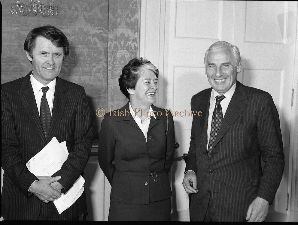 New Government Receive Seals Of Office.   (N84)..1981..30.06.1981..06.30.1981..30th June 1981..The newly elected Fine Gael /Labour coalition government under Dr Garret Fitzgerald received their seals of office from President Hillery at Áras an Uachtaráin today...Pictured at the Áras to collect their seals of office were Mr Michael O'Leary TD,Leader of the Labour Party and coalition partner, Ms Eileen Desmond TD and Mr Peter Barry TD.