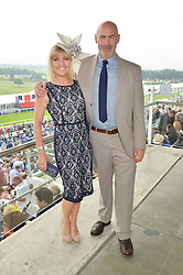 Actress ASHLEY JENSEN and her husband TERENCE BEESLEY at the Investec Derby at Epsom Racecourse, Epsom, Surrey on 4th June 2016.