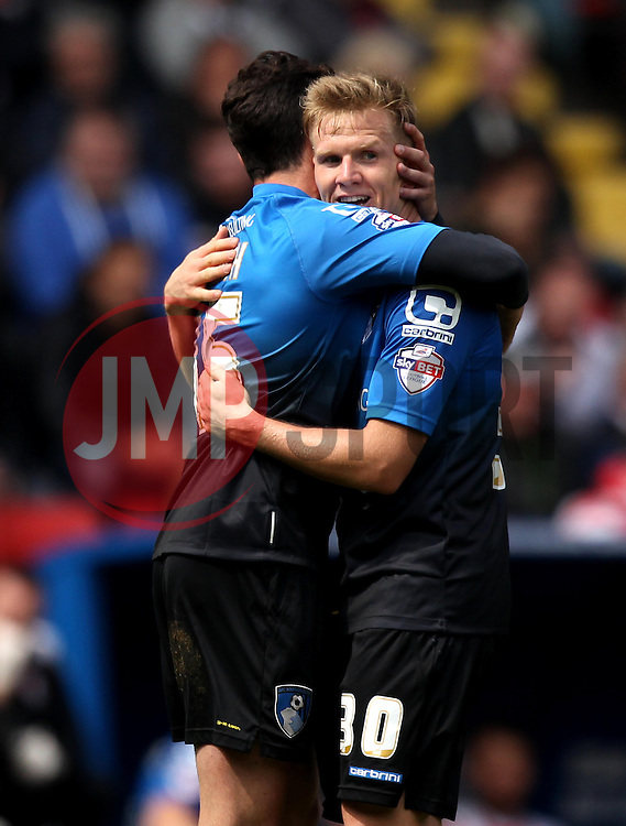Bournemouth's Matt Ritchie celebrates his second goal with Bournemouth's Adam Smith - Photo mandatory by-line: Robbie Stephenson/JMP - Mobile: 07966 386802 - 02/05/2015 - SPORT - Football - Charlton - The Valley - Charlton v AFC Bournemouth - Sky Bet Championsip