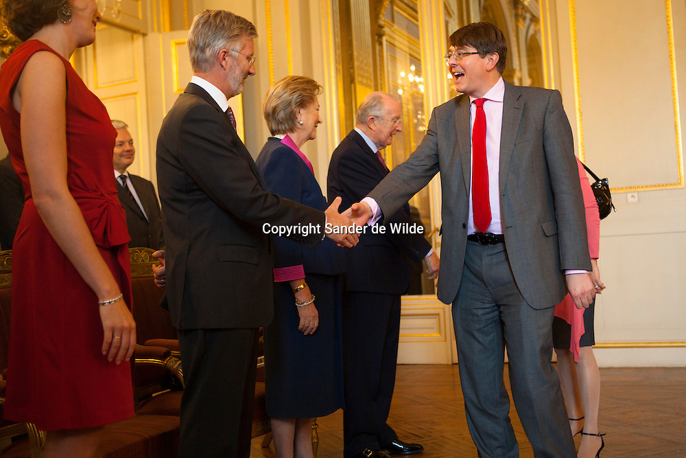 Prince Philippe of Belgium shakes hands with British Ambassador Jonathan Andrew Brenton at the New Year reception for Diplomatic Heads of Mission at Royal Palace on January 11, 2012 in Brussel, Belgium.