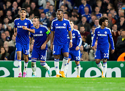 Dominic Solanke of Chelsea, John Terry of Chelsea, Didier Drogba of Chelsea, Eden Hazard of Chelsea and Willian of Chelsea during football match between Chelsea FC and NK Maribor, SLO in Group G of Group Stage of UEFA Champions League 2014/15, on October 21, 2014 in Stamford Bridge Stadium, London, Great Britain. Photo by Vid Ponikvar / Sportida.com