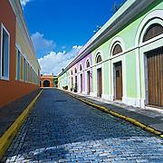 Vivid colors on buildings in old San Juan..Puerto Rico, USA.