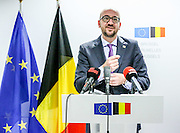 Brussels - Belgium - 24/10/2014<br /> <br /> European Union summit at the EU headquarters in Brussels . The two-day summit of the European Council in Brussels will focus on an ambitious package of climate change targets for 2030 but also tackle the Ebola crisis, economic stagnation, concern over Ukraine and tension in Cyprus over Turkey. Final press conference.<br /> <br /> Pix : Charles Michel<br /> <br /> Credit Denis Closon / Isopix  *** local caption *** 21999918