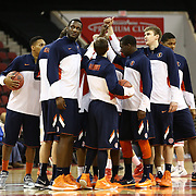 Members of  the Illinois Fighting Illini huddle during the NIT First Round game at Agganis Arena on March 19, 2014 in Boston, Massachusetts . (Photo by Elan Kawesch)