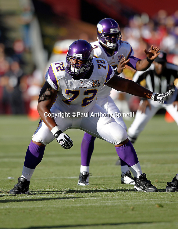 Minnesota Vikings guard Chris DeGeare (72) looks for someone to block during the NFL week 2 preseason football game against the San Francisco 49ers on Sunday, August 22, 2010 in San Francisco, California. The 49ers won the game 15-10. ©Paul Anthony Spinelli