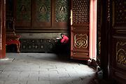 Un des moines surveillants récite les sutras dans le temple du grand bouddha Maitreya.