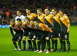 LIVERPOOL, ENGLAND - Wednesday, December 15, 2010: FC Utrecht players line-up for a team group photograph before the UEFA Europa League Group K match against Liverpool at Anfield. Back row L-R: goalkeeper Michel Vorm, Jan Wuytens, captain Michael Silberbauer, Sander Keller, Tim Cornelisse, Gianluca Nijholt. Front row L-R: Mihai Nesu, Edouard Duplan, Barry Maguire, Dries Mertens, Ricky van Wolfswinkel. (Photo by: David Rawcliffe/Propaganda)