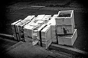 Hong Kong | HongKong | 01.12.2012 :  <br /> <br /> hier: Leere Lieferboxen auf der Stra&szlig;e<br />   <br /> Sascha Rheker<br /> 20121201<br /> <br /> <br /> <br /> [Inhaltsveraendernde Manipulation des Fotos nur nach ausdruecklicher Genehmigung des Fotografen. Vereinbarungen ueber Abtretung von Persoenlichkeitsrechten/Model Release der abgebildeten Person/Personen liegt/liegen nicht vor.] [No Model Release | No Property Release]