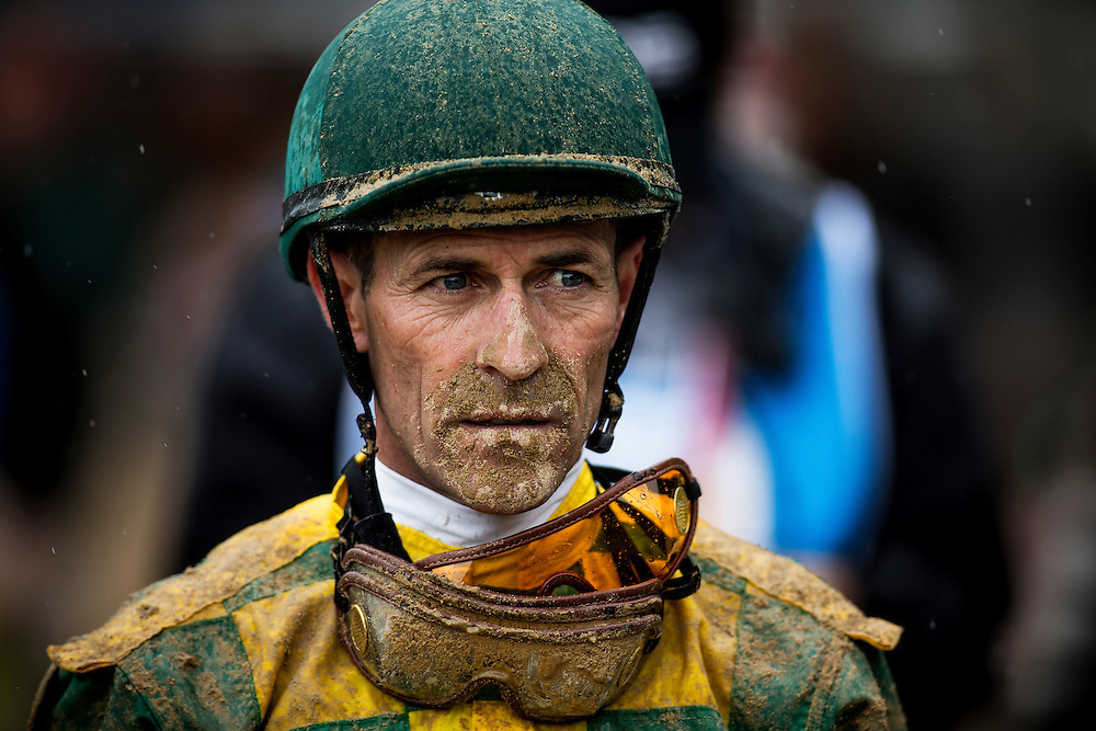 Hall of Fame jockey Gary Stevens returns muddy after a race at Churchill Downs in Louisville, KY on May 04, 2013. (Alex Evers/ Eclipse Sportswire)