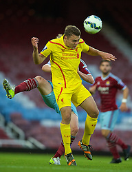 UPTON PARK, ENGLAND - Friday, September 12, 2014: Liverpool's Conor Randall in action against West Ham United during the Under 21 FA Premier League match at Upton Park. (Pic by David Rawcliffe/Propaganda)