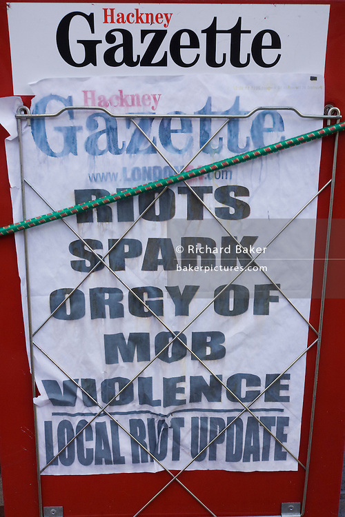 The local Hackney Gazette newspaper stand announces the latest news in the borough after the summer London riots.
