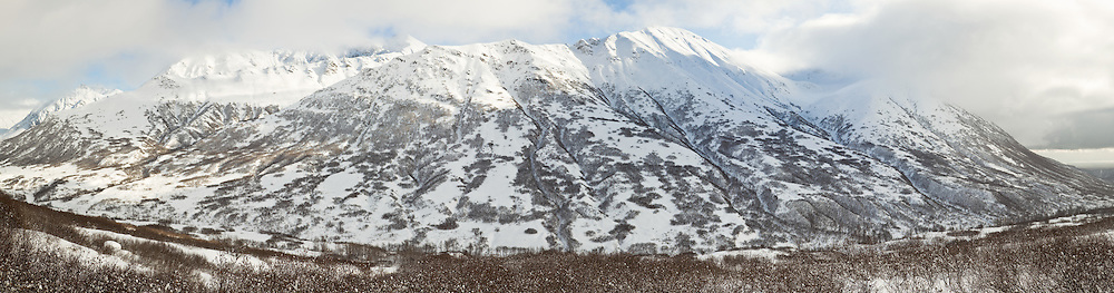 Composite panorama of Talkeetna Mountains in Hatcher Pass in Southcentral Alaska. Winter. Afternoon.