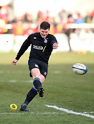 Freddie Burns of Bath Rugby kicks for the posts during the pre-match warm-up - Mandatory byline: Patrick Khachfe/JMP - 07966 386802 - 18/01/2020 - RUGBY UNION - Kingspan Stadium - Belfast, Northern Ireland - Ulster Rugby v Bath Rugby - Heineken Champions Cup