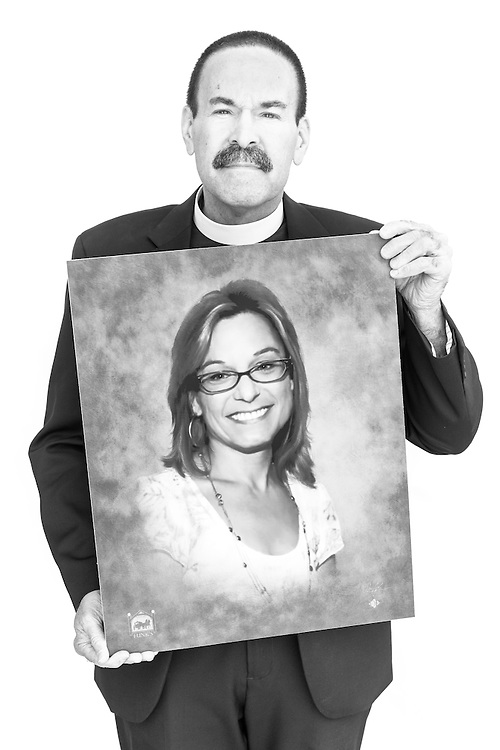 #EyesofLife Portrait of the Rev. Kevin A. Karner, pastor of Immanuel Lutheran Church, holding a photograph of his wife Maggie Karner, who died in 2015, on Tuesday, Nov. 1, 2016, in Bristol, Conn. LCMS Communications/Erik M. Lunsford