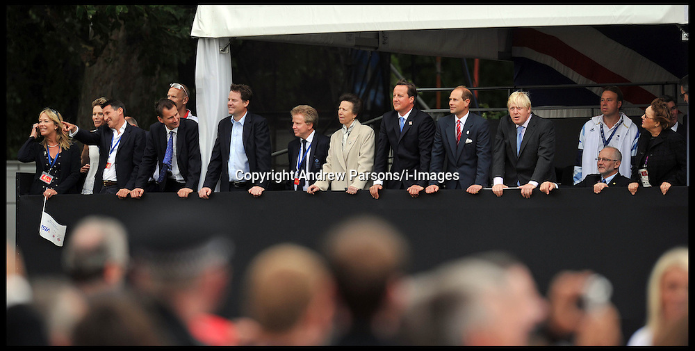 Members of the Royal Family and the Prime Minister David Cameron and Boris Johnson watch the fly past at The Olympic Parade at the Queen Victoria Memorial, London, Monday September 10, 2012 Photo Andrew Parsons/i-Images..All Rights Reserved ©Andrew Parsons/i-Images