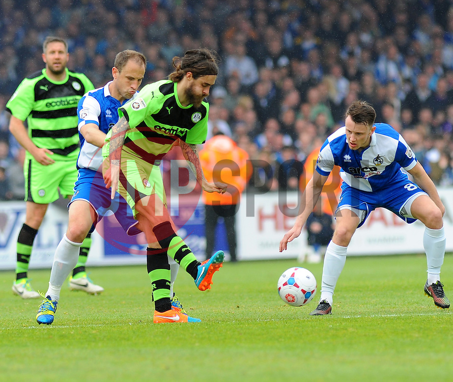 Forest Green Rovers's Rob Sinclair takes on Bristol Rovers' Ollie Clarke - Photo mandatory by-line: Nizaam Jones /JMP - Mobile: 07966 386802 - 03/05/2015 - SPORT - Football - Bristol - Memorial Stadium - Bristol Rovers v Forest Green Rovers - Vanarama Football Conference.