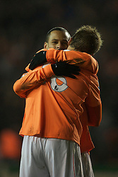 BLACKPOOL, ENGLAND - Tuesday, January 4, 2011: Blackpool's Dudley Campbell celebrates scoring the equalising goal against Birmingham City during the Premiership match at Bloomfield Road. (Pic by: David Rawcliffe/Propaganda)