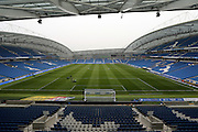 American Express Community Stadium. tadium bowl before the Sky Bet Championship match between Brighton and Hove Albion and Derby County at the American Express Community Stadium, Brighton and Hove, England on 2 May 2016.