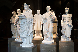 © Licensed to London News Pictures. 29/05/2018. London, UK.  Models of twentieth century Christian martyrs, including Martin Luther King (C) are displayed in the Queen's Diamond Jubilee Galleries at Westminster Abbey. The recently finished galleries situated in 13th century triforium, 52 feet above the abbey floor, will display treasures not seen by the public before and tell the story of abbey's thousand-year history. Photo credit: Peter Macdiarmid/LNP