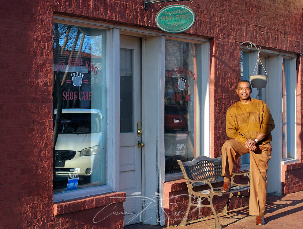 Shoe shiner Ernest Robinson poses for a picture outside his business, The Shine King, in Meridian, Miss. on Jan. 11, 2011. King learned to shine shoes as a teenager while working at a newsstand in downtown Meridian. (Photo by Carmen K. Sisson/Cloudybright)
