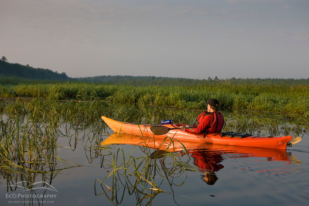 A man kayaks the North River in Pembroke, Massachusetts.