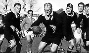 All Black Wilson Whineray reaches for the ball with Young, MacEwan and Ian Clarke close by. New Zealand v France at Eden Park, Auckland. 22 July 1961, NZ won 13-6 over the French. Photo: Photosport.co.nz