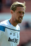 Peter Crouch during the Barclays Premier League match between Stoke City and Liverpool at the Britannia Stadium, Stoke-on-Trent, England on 9 August 2015. Photo by Alan Franklin.