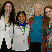 Osprey Orielle Lake, Patricia Gualinga Montalvo, Dr. Jane Goodall and Natalia Greene are delegates at the International Women's Earth and Climate Summit. Leaders from 35+ countries gathered for the drafting of a Women's Climate Action Agenda in Suffern, New York September 20-23rd, 2013 as part of the International Women's Earth and Climate Summit.  For a full list of Summit delegates and an agenda visit www.iweci.org. Photo by Lori Waselchuk/Magazines OUT