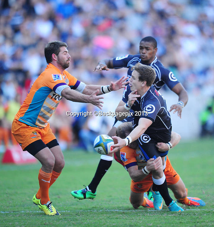 Sp Marias of the Sharks and Willie Le Roux of the Cheetahs during the 2014 Super Rugby Sharks match between Sharks and Cheetahs at the Kings Parks Stadium in Durban , Kwa-Zulu Natal on the 19th of April 2014<br /> <br /> &copy;Sabelo Mngoma/BackpagePix