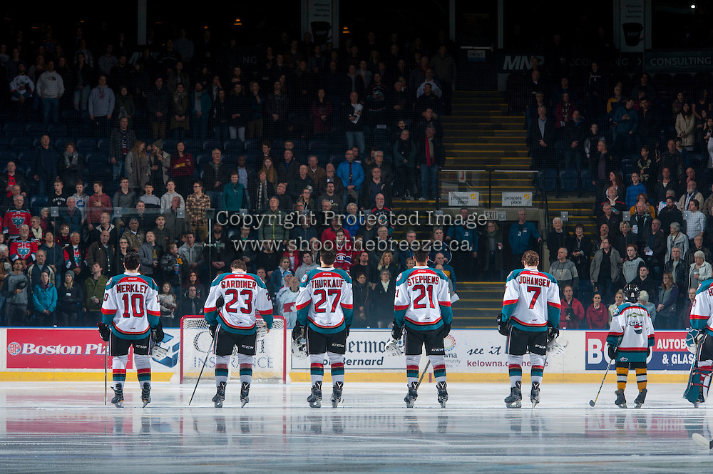 KELOWNA, CANADA - JANUARY 27: The Kelowna Rockets' line up during the  national anthem against the Kamloops Blazers on January 27, 2017 at Prospera Place in Kelowna, British Columbia, Canada.  (Photo by Marissa Baecker/Shoot the Breeze)  *** Local Caption ***