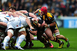 James Haskell of Wasps in action at a scrum - Mandatory byline: Patrick Khachfe/JMP - 07966 386802 - 09/04/2016 - RUGBY UNION - Ricoh Arena - Coventry, England - Wasps v Exeter Chiefs - European Rugby Champions Cup Quarter Final.