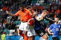 09-09-2019: Voetbal: Estland v Nederland: Tallinn<br /> Kwalificatieronde EK 2020<br /> <br /> L+R Georginio Wijnaldum of The Netherlands and Virgil van Dijk of The Netherlands and Joonas Tamm of Estonia and Karol Mets of Estonia<br /> <br /> Foto: Dijks Fotografie / Henk Jan Dijks<br /> <br /> Foto: Henk Jan Dijks