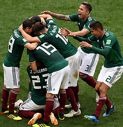 MOSCOW, June 17, 2018  Players of Mexico celebrate scoring during a group F match between Germany and Mexico at the 2018 FIFA World Cup in Moscow, Russia, June 17, 2018. (Credit Image: © Wang Yuguo/Xinhua via ZUMA Wire)