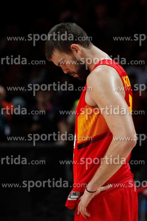 10.09.2014, Palacio de los deportes, Madrid, ESP, FIBA WM, Frankreich vs Spanien, Viertelfinale, im Bild Spain´s Marc Gasol disappointment // during FIBA Basketball World Cup Spain 2014 Quarter-Final match between France and Spain at the Palacio de los deportes in Madrid, Spain on 2014/09/10. EXPA Pictures © 2014, PhotoCredit: EXPA/ Alterphotos/ Victor Blanco<br /> <br /> *****ATTENTION - OUT of ESP, SUI*****