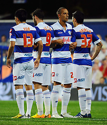 Queen Park Rangers' Bobby Zamora and teammates makes a wall  - Photo mandatory by-line: Seb Daly/JMP - Tel: Mobile: 07966 386802 27/08/2013 - SPORT - FOOTBALL - Loftus Road - London - Queens Park Rangers V Swindon Town -  Capital One Cup - Round 2