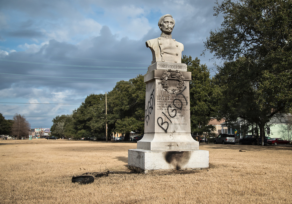 January 21, 2018, The Confederate memorial of Col. Charles Didier Dreaux was vandalized overnight with the word bigot spray-painted on it on all found sides of its base.  Col. Charles Didier Dreaux was the first Confederate officer from Louisiana killed during the Civil War.