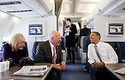 30.MARCH.2012. WASHINGTON D.C<br /> <br /> PRESIDENT BARACK OBAMA TALKS WITH SEN. PATRICK LEAHY, D-VT, AND MARCELLE LEAHY ABOARD AIR FORCE ONE EN ROUTE TO BURLINGTON, VT., MARCH 30, 2012.<br /> <br /> BYLINE: EDBIMAGEARCHIVE.COM<br /> <br /> *THIS IMAGE IS STRICTLY FOR UK NEWSPAPERS AND MAGAZINES ONLY*<br /> *FOR WORLD WIDE SALES AND WEB USE PLEASE CONTACT EDBIMAGEARCHIVE - 0208 954 5968*
